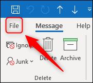 Option de fichier d'Outlook.