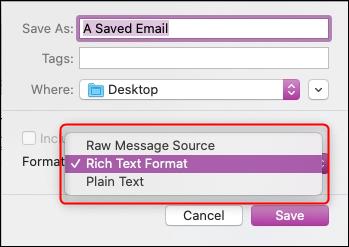 """le """"Enregistrer sous"""" options de format de fichier."""