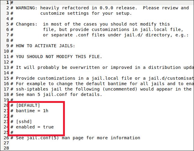 /etc/fail2ban/jail.local ouvert dans une fenêtre gedit.