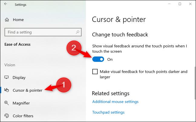 """Dans le """"Curseur et pointeur"""" volet, appuyez sur le """"Afficher un retour visuel autour des points tactiles lorsque je touche l'écran"""" basculer vers """"Désactivé."""""""
