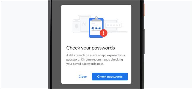 Notification de Chrome lorsque vous utilisez un mot de passe divulgué sur un smartphone.