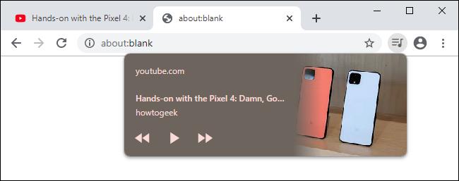 Commandes de lecture multimédia sur la barre d'outils de Chrome 79.