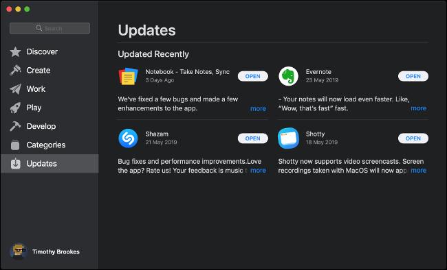 Le menu Mises à jour logicielles de l'App Store sur macOS.