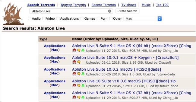 Le site Web du torrent Pirate Bay.