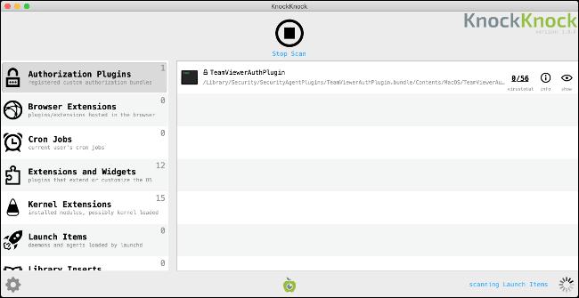 Vérificateur de logiciels persistants KnockKnock pour Mac.