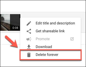 Appuyez sur le bouton Supprimer pour toujours pour commencer à supprimer une vidéo YouTube