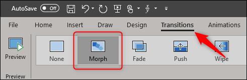 Transition de morphing dans Powerpoint