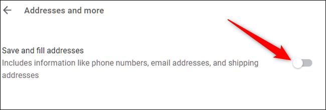 Désactiver Enregistrer les adresses et plus