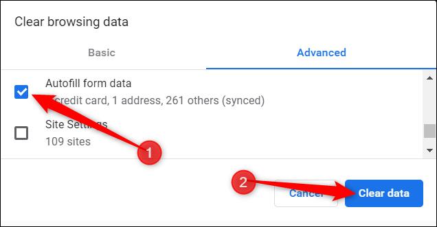 Assurez-vous que les données du formulaire de saisie automatique sont cochées, puis cliquez sur Effacer les données