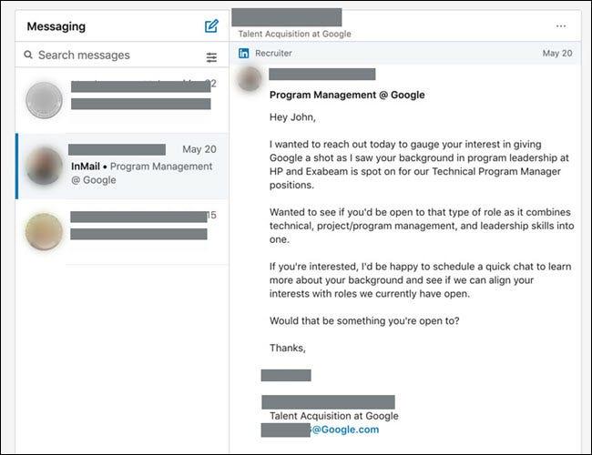 Message LinkedIn d'un recruteur Google demandant une discussion sur les emplois.