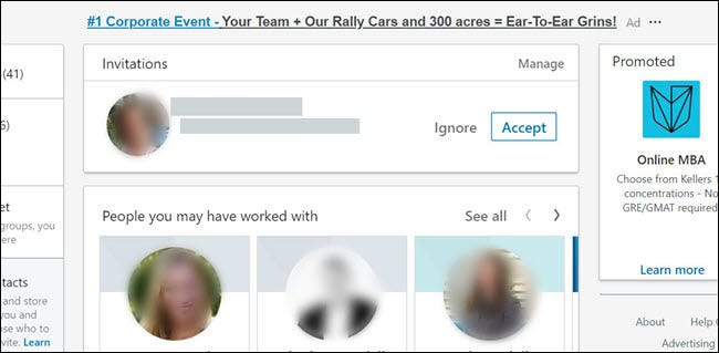 Une demande d'invitation sur LinkedIn