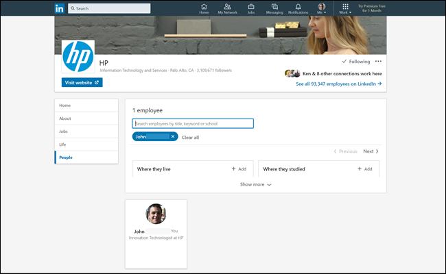 Liste des employés HP sur LinkedIn, montrant notre faux profil d'employé.