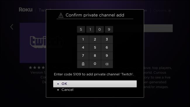 Roku Confirmer l'ajout d'une chaîne privée