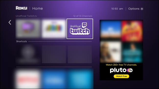 Application Twitch non officielle de Roku