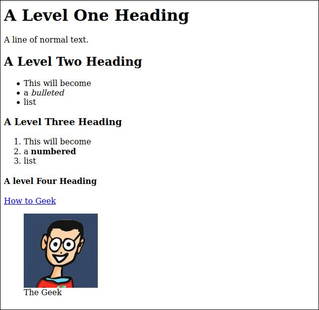 Rendu HTML du fichier markdown sample.md, dans une fenêtre de navigateur.