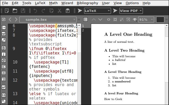 Un fichier LaTeX ouvert dans Texmaker, montrant un aperçu de la page de composition.