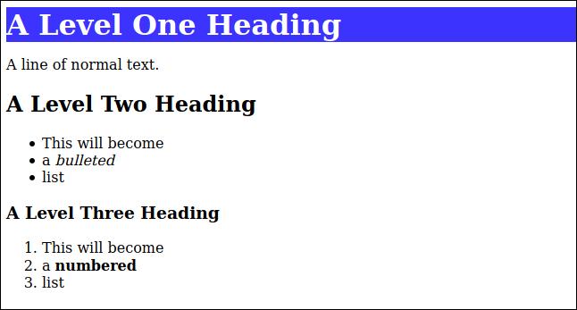 HTML rendu à partir du démarque avec un style CSS appliqué à l'en-tête de niveau un, dans une fenêtre de navigateur