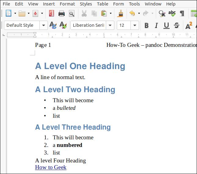 Un fichier ODT rendu à partir du markdown avec un document LibreOffice faisant office de feuille de style, dans une fenêtre LibreOffice Writer.