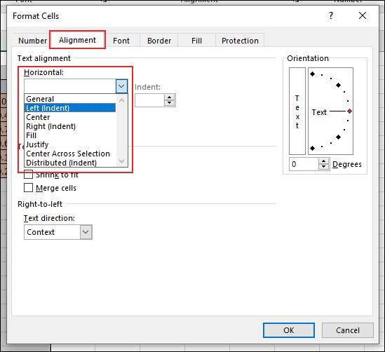 """Dans la boîte de dialogue Format des cellules dans Excel, cliquez sur l'onglet Alignement et cliquez sur le """"Horizontal"""" menu déroulant, sous la section Alignement du texte"""