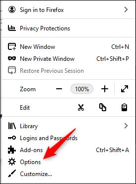 Élément Options dans le menu Firefox