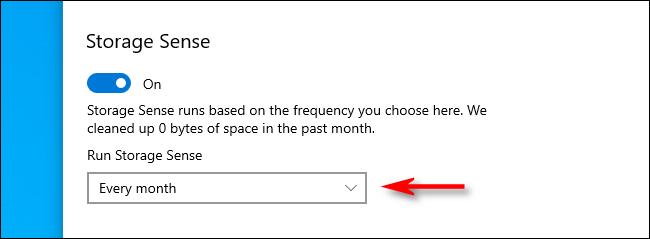 Sélectionnez Intervalle d'exécution de Storage Sense dans les paramètres de Windows 10