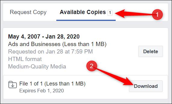 """Lorsque le fichier est prêt pour le téléchargement, cliquez sur """"Copies disponibles"""" à partir de la page Télécharger vos informations.  Cliquez sur """"Télécharger"""" à côté du fichier que vous souhaitez télécharger."""