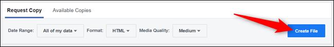 """Revenez en haut et cliquez sur """"Créer un fichier"""" pour demander les données."""