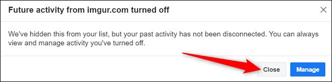 """L'application ou le site Web a maintenant été masqué.  Cliquez sur """"Fermer"""" pour fermer la boîte de dialogue."""
