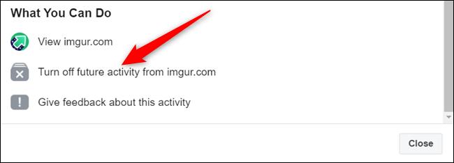 """Cliquez sur """"Désactiver les activités futures de ..."""""""
