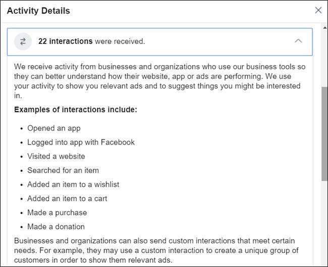 Cliquer sur un détail donne plus d'informations sur le fonctionnement de la fonctionnalité.  Pour voir une description détaillée, vous devrez télécharger vos informations.