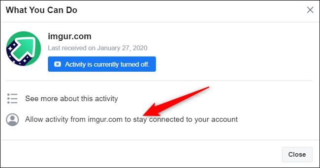 """Cliquez sur """"Autoriser l'activité de ..."""" pour rétablir l'activité connectée à votre compte à partir de cette application ou de ce site Web."""
