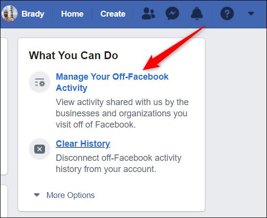 """Cliquez sur """"Gérez votre activité hors Facebook"""" du côté droit de l'écran."""