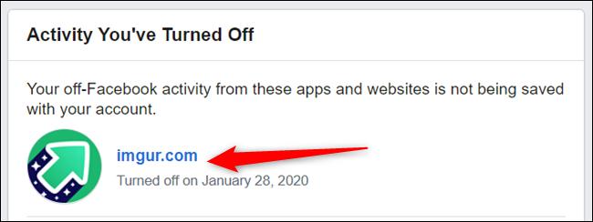 Cliquez sur une application ou un site Web dans la liste des éléments précédemment supprimés.