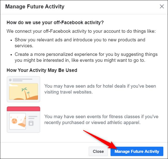 """Lisez la boîte de dialogue et cliquez sur """"Gérer l'activité future"""" lorsque vous êtes prêt à continuer."""