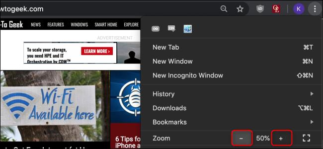Chrome Set Zoom pour un site Web