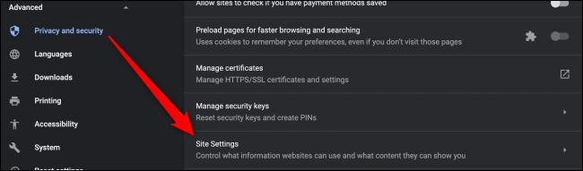 Paramètres des paramètres du site Chrome