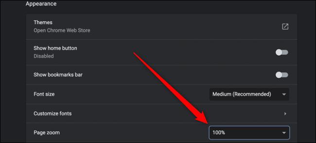 Paramètres avancés de Chrome pour le zoom