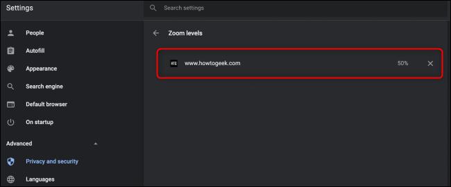 Paramètres de zoom Chrome