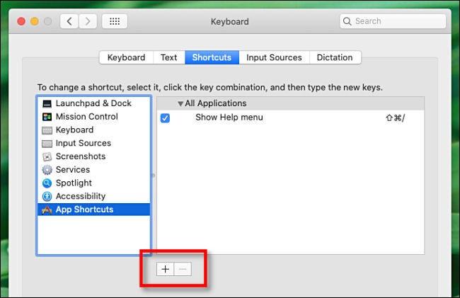 Cliquez sur le signe plus (+) pour ajouter un raccourci clavier.