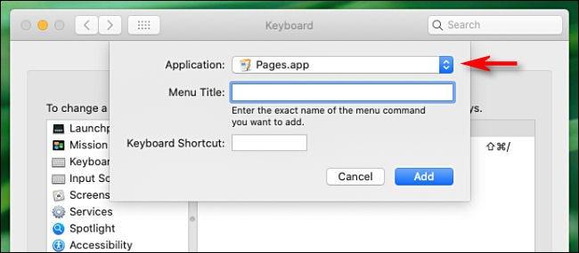 Sélectionnez l'application pour laquelle vous souhaitez disposer d'un raccourci clavier.