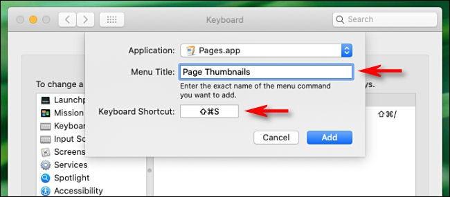 """Tapez le nom de la commande de menu dans le """"Titre du menu"""" et le raccourci que vous souhaitez utiliser dans le """"Raccourci clavier"""" boîte."""