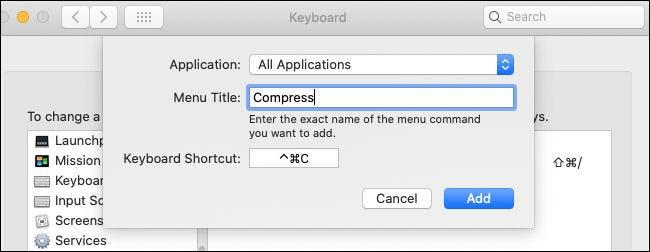 """Créer un """"Compresse"""" raccourci pour """"Toutes les applications"""" dans les préférences du clavier sur Mac."""