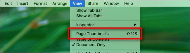 """Un raccourci clavier à côté de """"Vignettes de page"""" dans le """"Vue"""" menu dans """"Pages."""""""