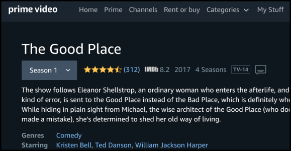 Amazon Prime Video Le bon endroit