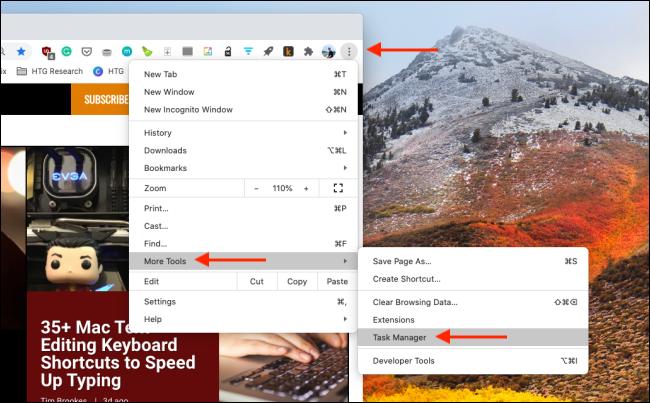Ouvrez le Gestionnaire de tâches dans Chrome
