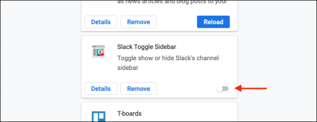 Cliquez sur Basculer pour désactiver une extension Chrome