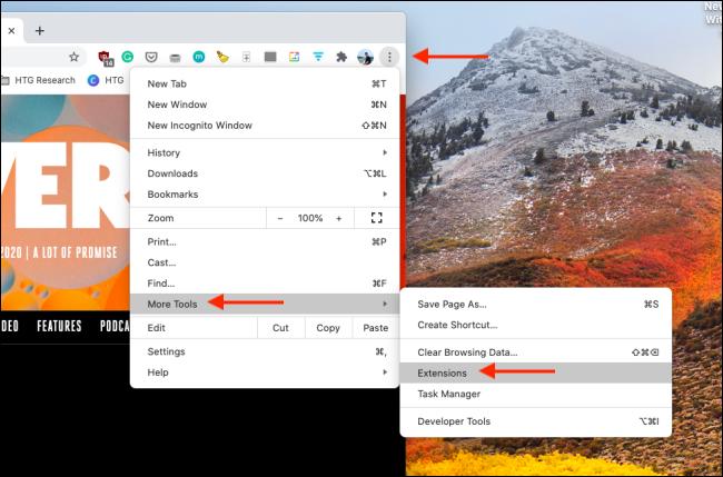 Ouvrir le gestionnaire d'extensions dans Chrome