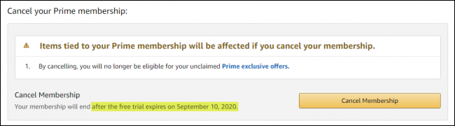 annuler l'essai d'Amazon Prime