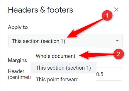 """Clique le """"Postuler à"""" liste déroulante, puis cliquez sur l'un ou l'autre """"Document entier"""" ou alors """"Ce point en avant."""""""