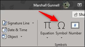 option de symbole dans le groupe de symboles
